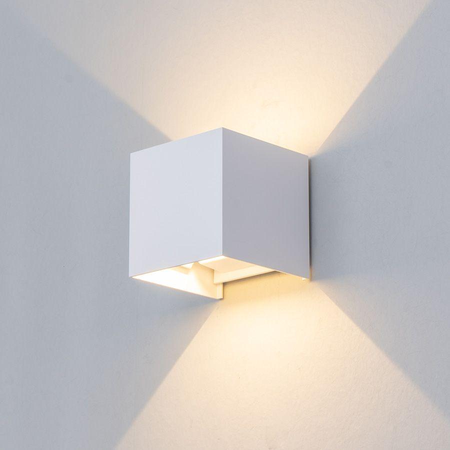 Lampe de mur LED réglable 6W IP65 étanche intérieur et extérieur en aluminium applique murale cube LED monté en Surface