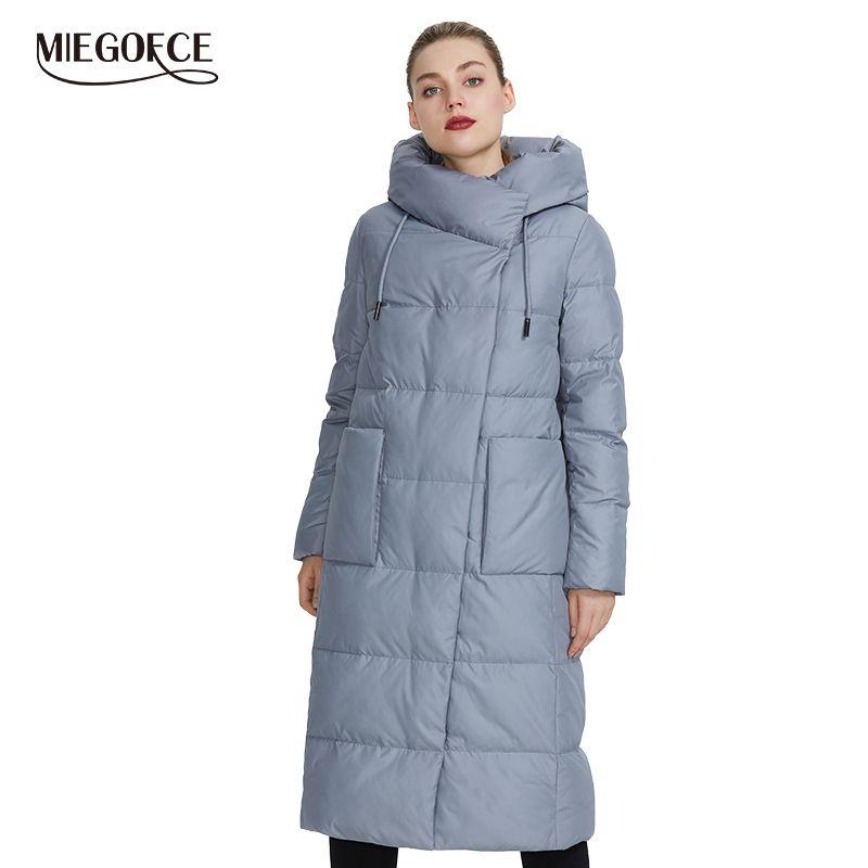 MIEGOFCE 2019 Frauen Winter Jacke Winddicht Mantel Mit Stand-Up Kragen und Kapuze Frauen Parka Aus Biopuh Werden schützen Von Kalt