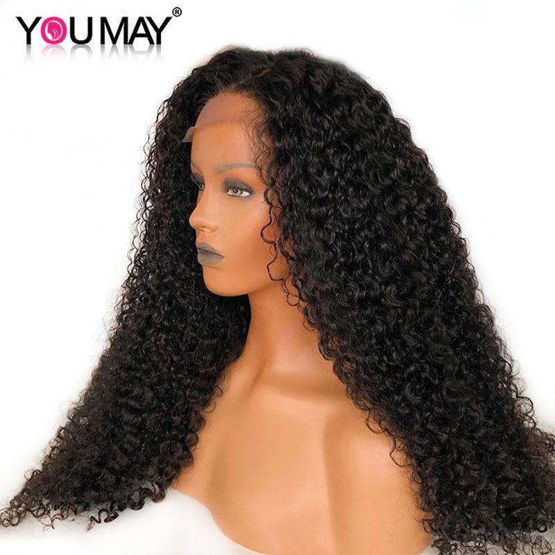 250% densité brésilienne bouclés cheveux humains perruques pleines extrémités dentelle avant perruques pour les femmes naturel noir pré plumé vous pouvez Remy cheveux