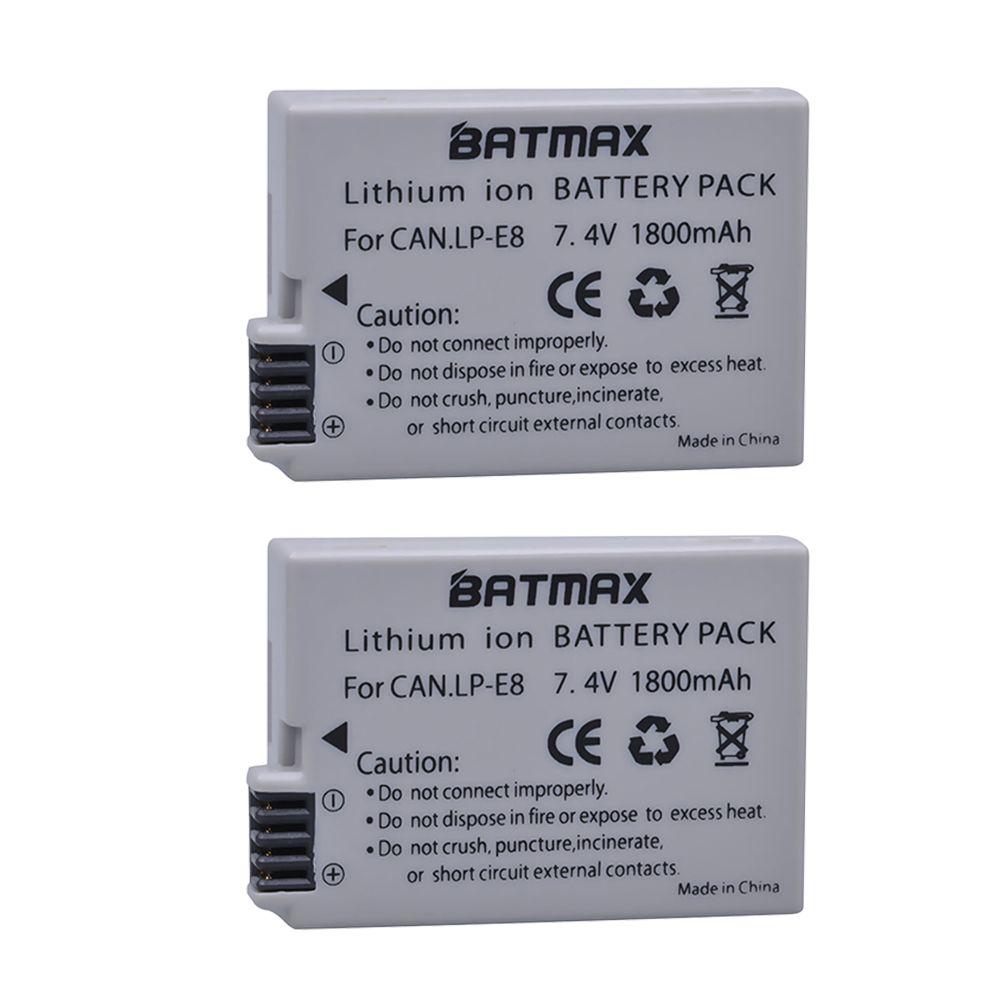 2 pièces 1800mah LP-E8 LP E8 LPE8 Batterie pour Appareil Photo Canon EOS 550D 600D 650D 700D Baiser X4 X5 X6i X7i Rebelles T2i T3i T4i T5i Batterie