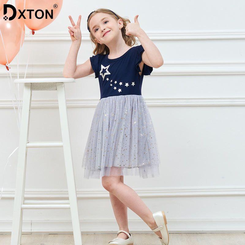 Dxton Kids Girl Dress Tutu Princess Dress 2019 Sequin Children Vestidos Summer Kids Dress for Girl Unicorn Girl Clothes 2-8 Year