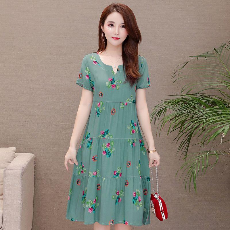 Nouveauté 2019 robe d'été à pois robe slim lâche col en v décontracté femmes vêtements coton patchwork robes robes de grande taille