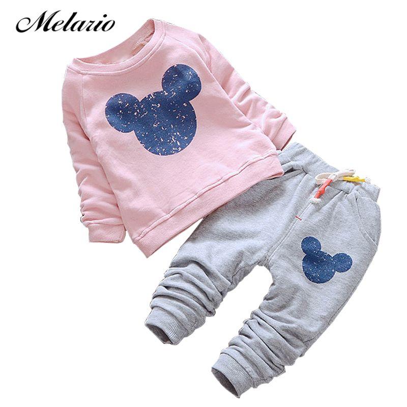 Melario bébé filles vêtements 2019 automne bébé vêtements ensembles dessin animé impression sweats + pantalons décontractés 2 pièces pour bébé enfants vêtements