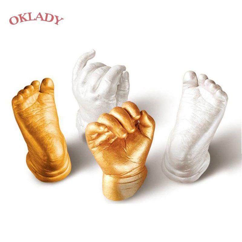 Oklady 3D main pied imprimer moule pour bébé poudre plâtre moulage Kit empreinte de main souvenir cadeau bébé croissance mémorial enfant