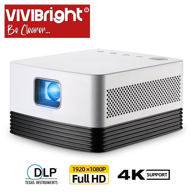 VIVIBRIGHT Full HD Projektor J20, 1920*1080 P, Android WIFI, 18000mAH Batterie, tragbare DLP Projektor. Unterstützung 4K 3D Beamer