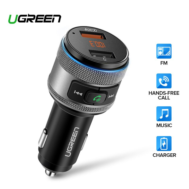 Ugreen USB chargeur de voiture Bluetooth FM transmetteur QC rapide 3.0 Charge chargeur rapide pour Xiaomi Samsung iPhone Huawei QC3.0 chargeur