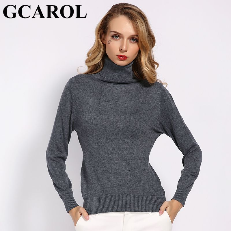 GCAROL New Fall Winter 30% Wool Turtleneck Sweater Soft Handle Warm Women Jumper OL Render Knit Pullover S-3XL