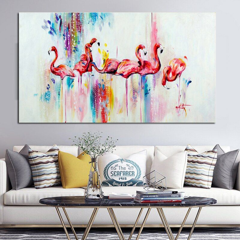 RELIABLI aquarelle flamant rose peinture décorative impressions sur toile et affiches nordique animaux mur photos pour salon sans cadre
