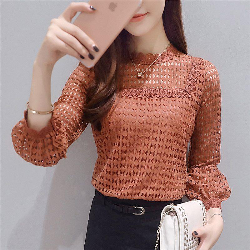 Dentelle chemises 2019 nouveau neuf-quart manches haut pour femme dentelle o-cou ruff manches mode automne brun Blouse chemises femmes Blouses 16J