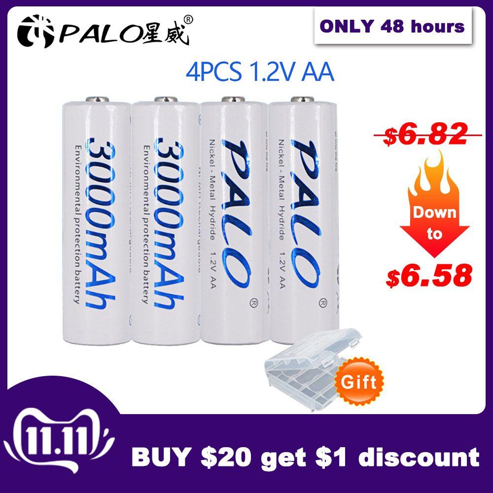 4 pièces 2a AA piles 1.2V AA 3000mAh Ni-MH batterie Rechargeable pré-chargée 2A Baterias pour appareil photo, horloge et rasoir