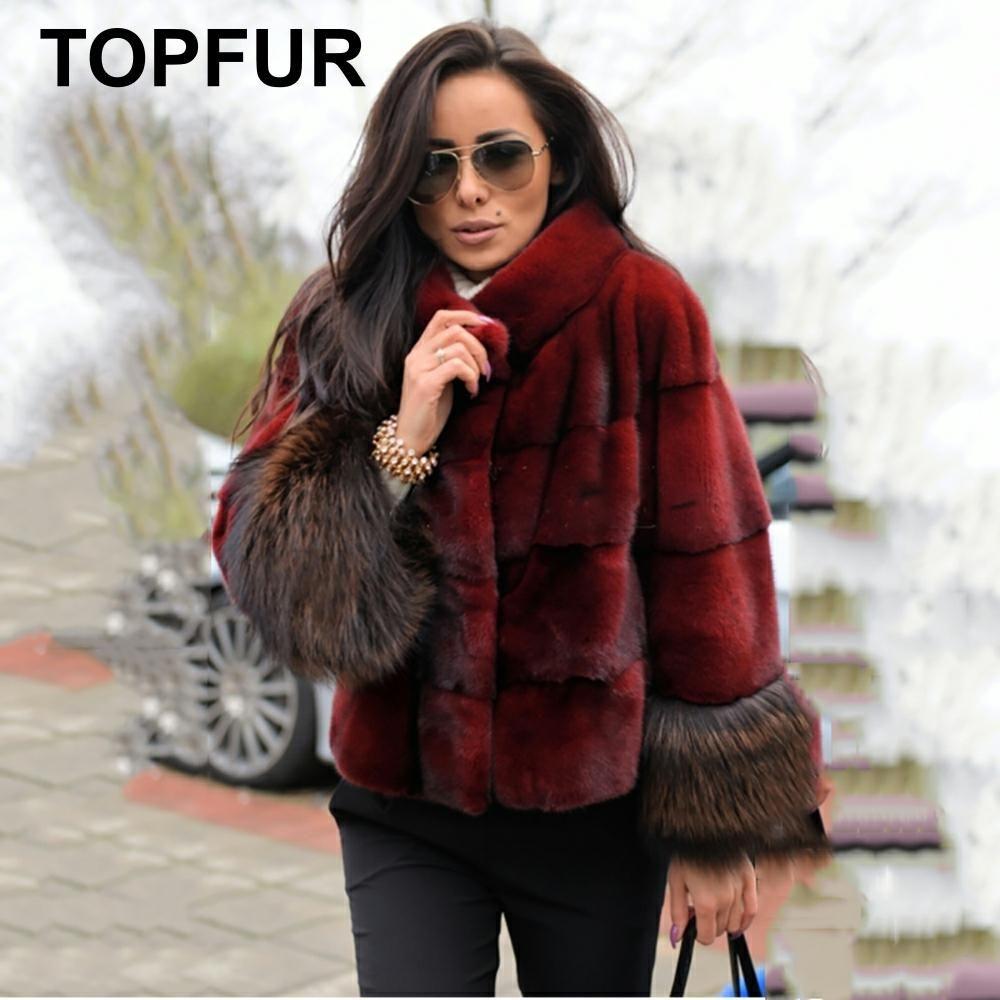 TOPFUR 2019 Mode Wein Roten Mantel Frauen Kurze Jacke Echtpelz Mantel Mit Pelz Kragen Natürliche Nerz Volle Hülsen mit Fuchs Pelz