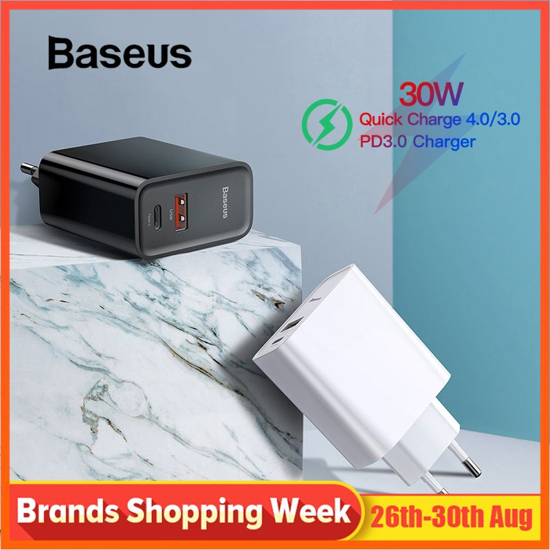 Baseus Quick Charge 4.0 3.0 USB Charger 5A for Huawei 30W QC 4.0 3.0 Quick Charger PD 3.0 Fast Charger for iPhone