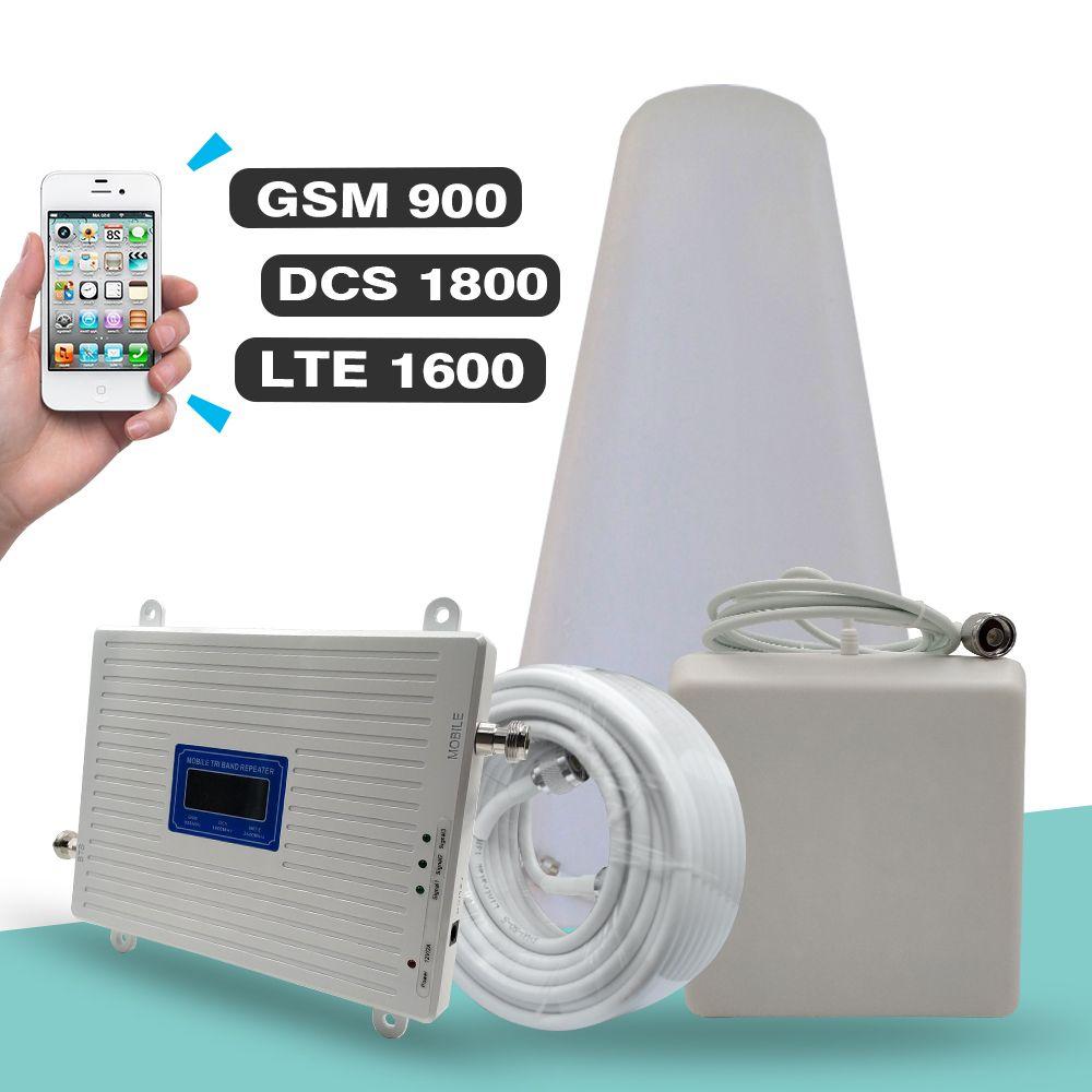 2G 3G 4G Tri Band Repeater GSM 900 + DCS LTE 1800 (B3) + FDD LTE 2600 (B7) Handy Signal Booster 900 1800 2600 Signal Verstärker Set