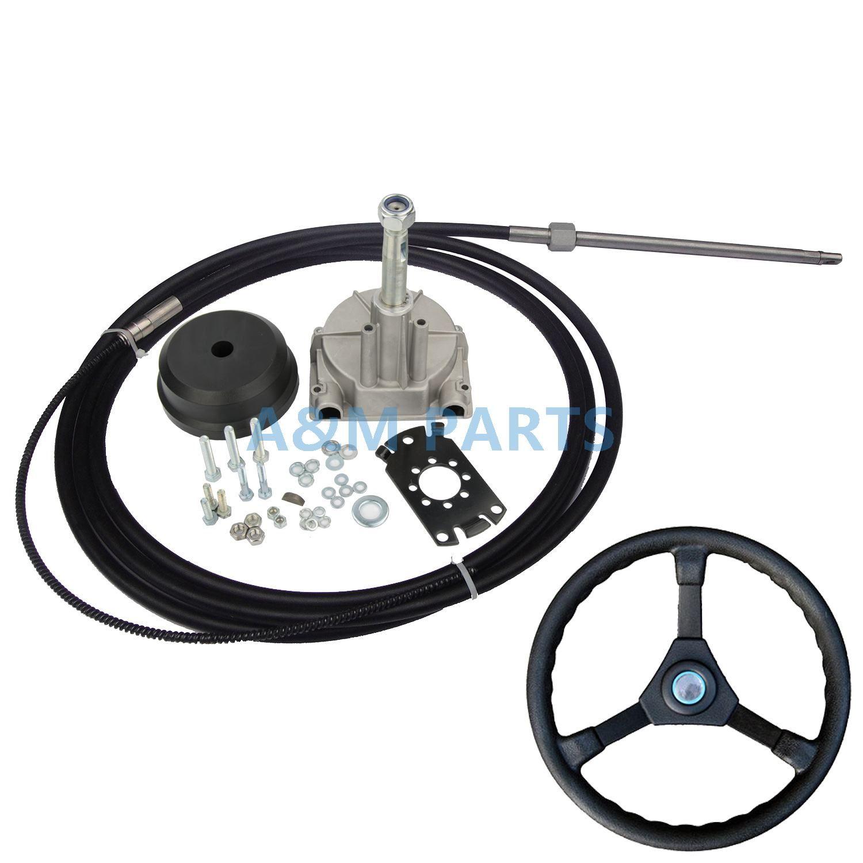 10FT Marine Motor Turbine Rotary Lenkung System Boot Mechanische Kabel & Rad