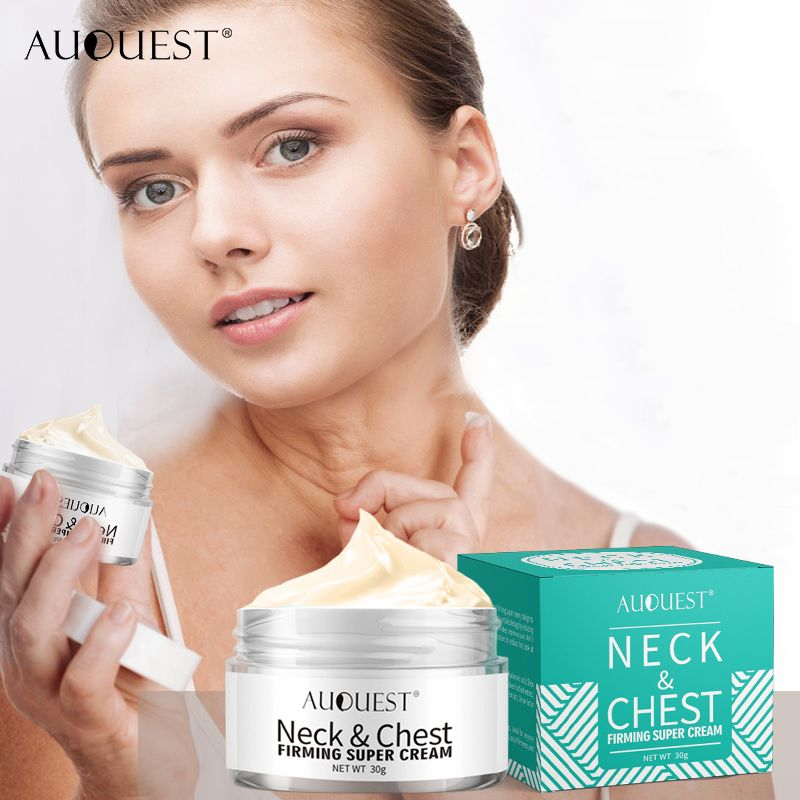 AuQuest Neck Chest Wrinkle Firming Cream Anti Aging Anti Wrinkle Remover Skin Lifting Whitening Neck Massager Cream Skin Care