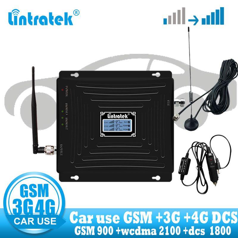 Lintratek Auto Verwenden Repeater Tri Band GSM 900 WCDMA 2100 LTE 1800 2G 3G 4G Signal Booster handy Cellular GSM Verstärker in auto