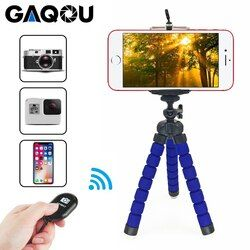 GAQOU Tripod + Clip Stand Mini Flexible For Camera Mobile Phone Holder Stand Flexible Octopus Sponge Tripod Bracket with Remote
