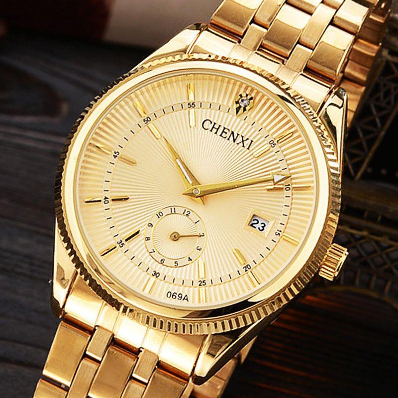 CHENXI Montre En Or Hommes De Luxe Homme D'affaires Montre D'or Étanche Unique Mode Casual Quartz Mâle Robe Horloge Cadeau 069IPG