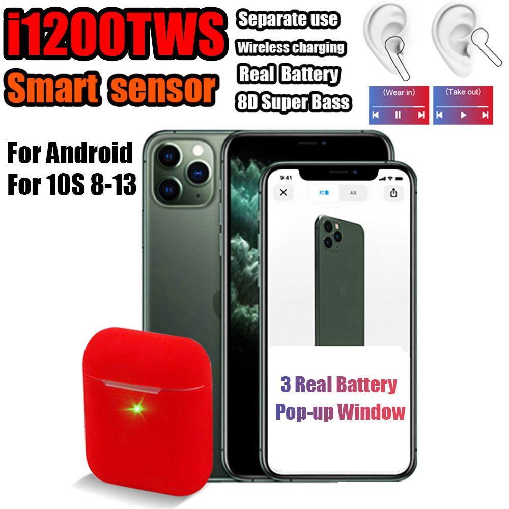 i1200 tws Smart In-ear Check Sensor Wireless Earphone 8D Super Bass Bluetooth 5.0 Earbuds PK i10 i12 i200 i500 i1000 i9000 tws