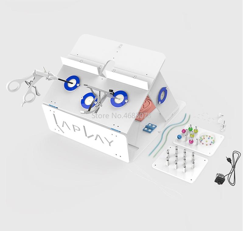 EINE komplette set von Laparoskopische Chirurgie Training Box Simulierte Chirurgische Ausrüstung Instrument Trainer Chirurgische Instrument