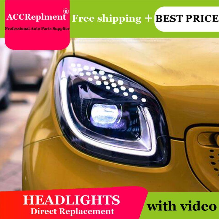 Auto styling Für BENZ smart scheinwerfer 2015-2017 Für BENZ smart LED licht bar Q5 bi LED linse led lampe projektor