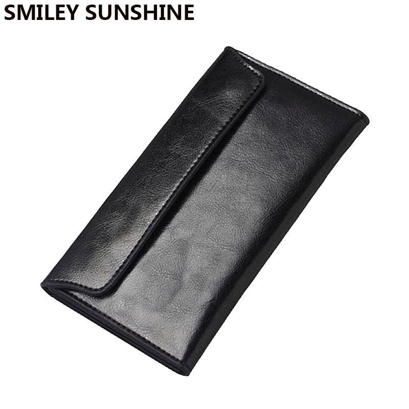 Mince en cuir véritable femmes portefeuille femme longue pochette porte-monnaie femmes portefeuilles et sacs à main porte-cartes pour femme Walet Vallet 2018