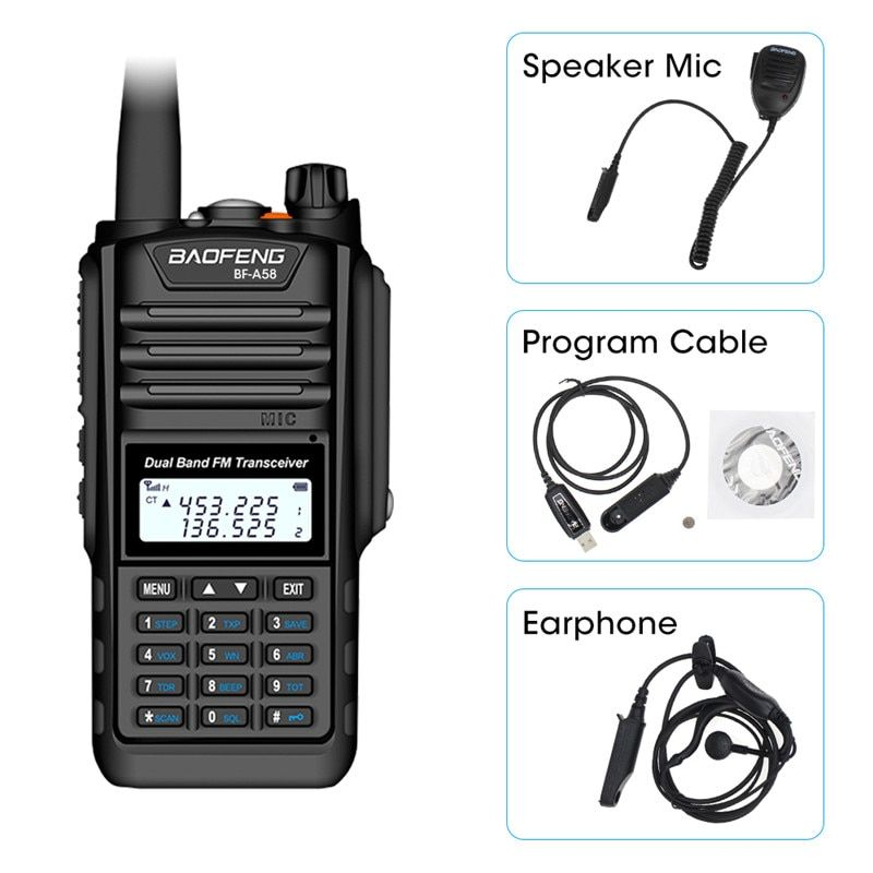 Baofeng BF-A58 Walkie Talkie IP68 Waterproof 128CH Dual Band UHF VHF Two Way Radio Handheld FM Transceiver CB Ham Radio Station
