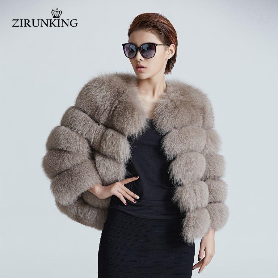 ZIRUNKING Frauen Warme Echt Fuchs Pelz Mantel Kurze Winter Pelz Jacke Oberbekleidung Natürliche Blau Fuchs Pelz Mäntel für Frauen ZC1636