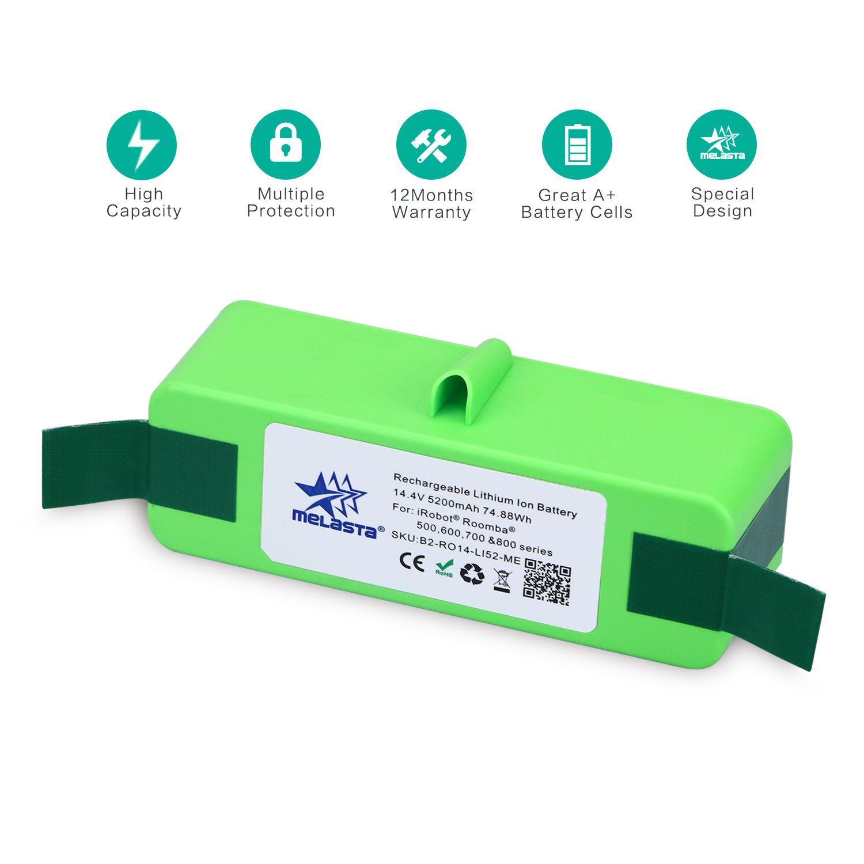 Melasta 5.2Ah 14.4V Li-ion Batterie pour iRobot Roomba 500 600 700 800 Série 510 530 550 560 620 650 760 770 780 790 870 880 R3
