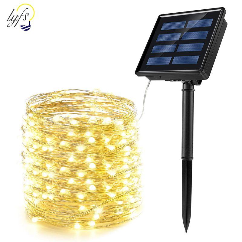 50/100/200 LED solaire lumière LED LED étanche Cuivre Fil Chaîne De Vacances en Plein Air LED bande Fête De Noël Décoration De Mariage