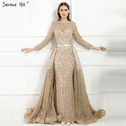 Fashion Mermaid Luxury Evening Dress Long Sleeves  Gliter  with train Evening Gowns 2020 Serene Hill LA6112