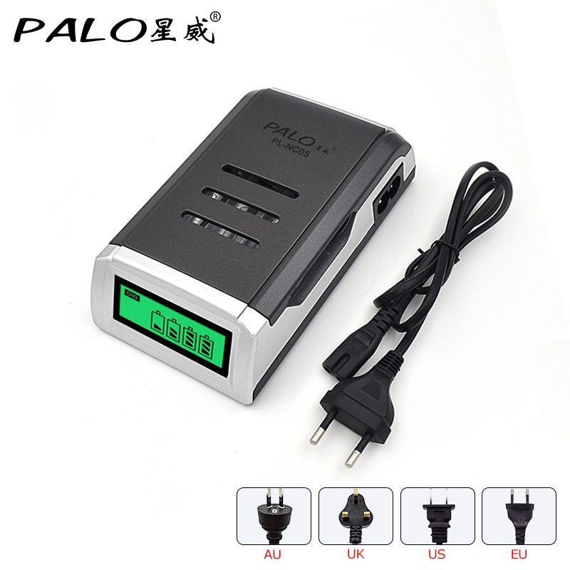 Chargeur PALO universel C905W 4 fentes LCD affichage Intelligent chargeur de batterie Intelligent pour piles rechargeables AA/AAA NiCD NiMH