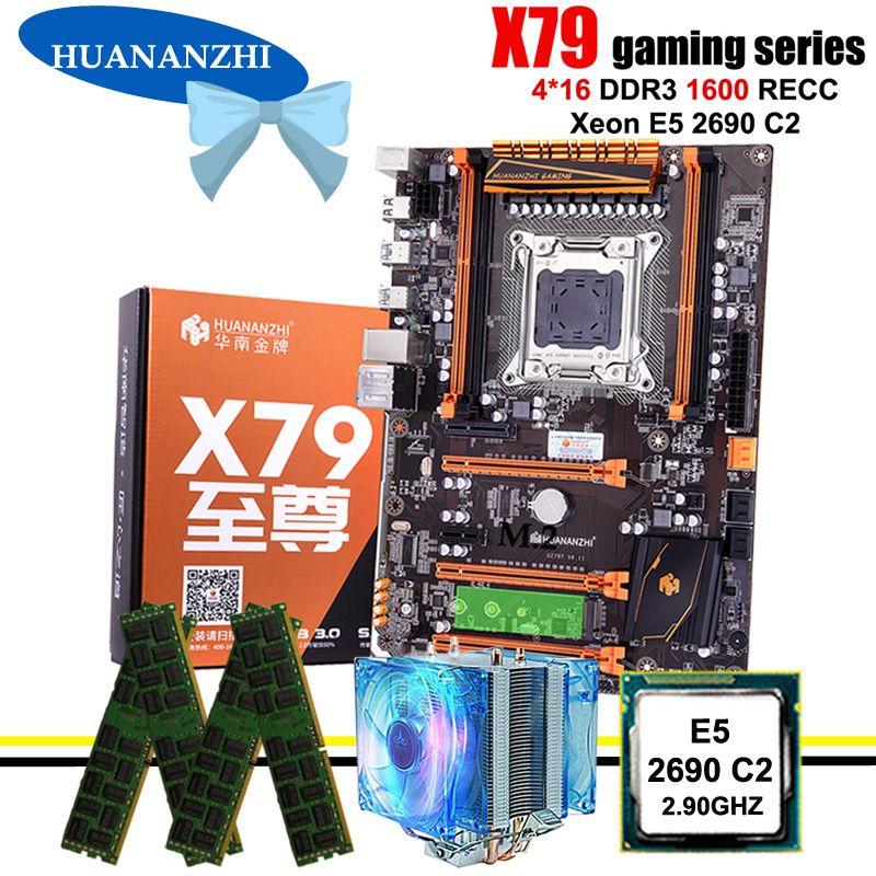 Erstaunliche HUANANZHI deluxe X79 LGA2011 gaming motherboard mit M.2 NVMe CPU Intel Xeon E5 2690 C2 2,9 GHz mit kühler RAM 64G RECC