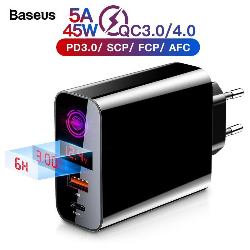 Chargeur 4.0 3.0 USB de Charge rapide de Baseus pour l'iphone Xiaomi Samsung Huawei SCP QC4.0 QC3.0 QC C PD chargeur rapide de téléphone portable de mur