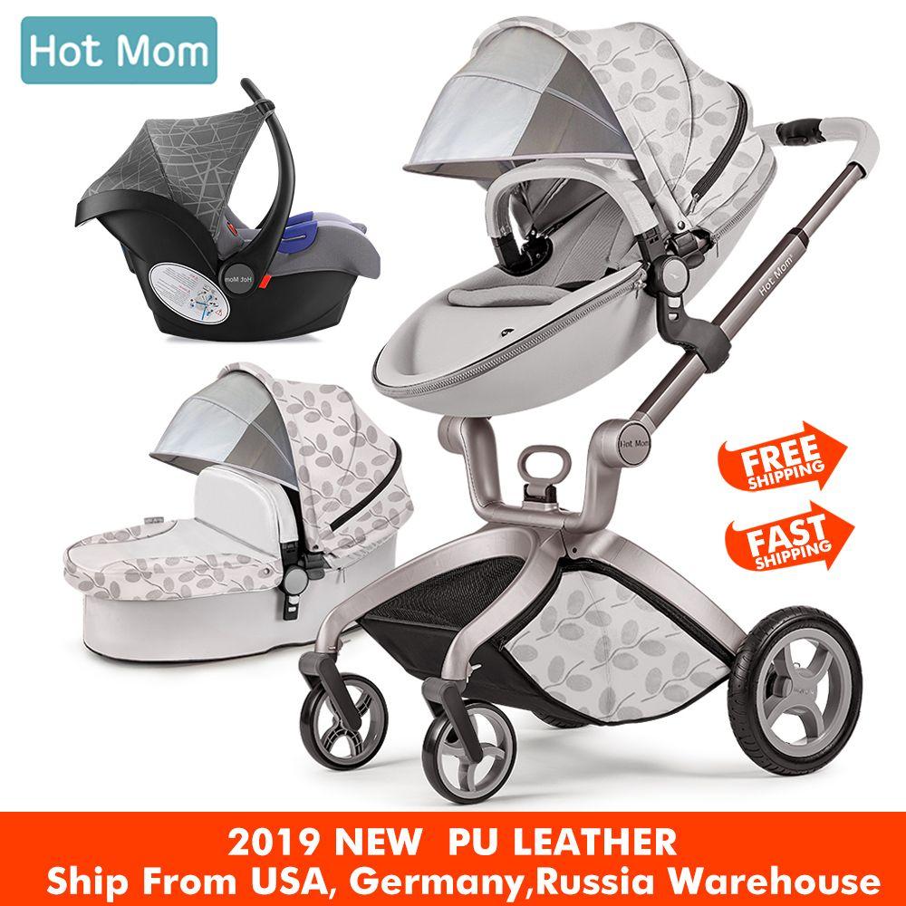 Hot Mom Baby Kinderwagen 3 in 1 travel system High Land-scape kinderwagen mit stubenwagen in 2019 Klapp Wagen für Neugeborene baby