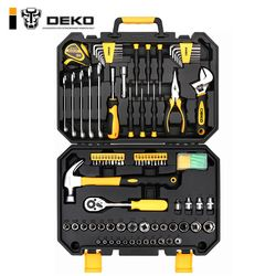 DEKO 128 Pcs Hand Tool Set General Household Hand Tool Kit with Plastic Toolbox Storage Case Socket Wrench Screwdriver Knife