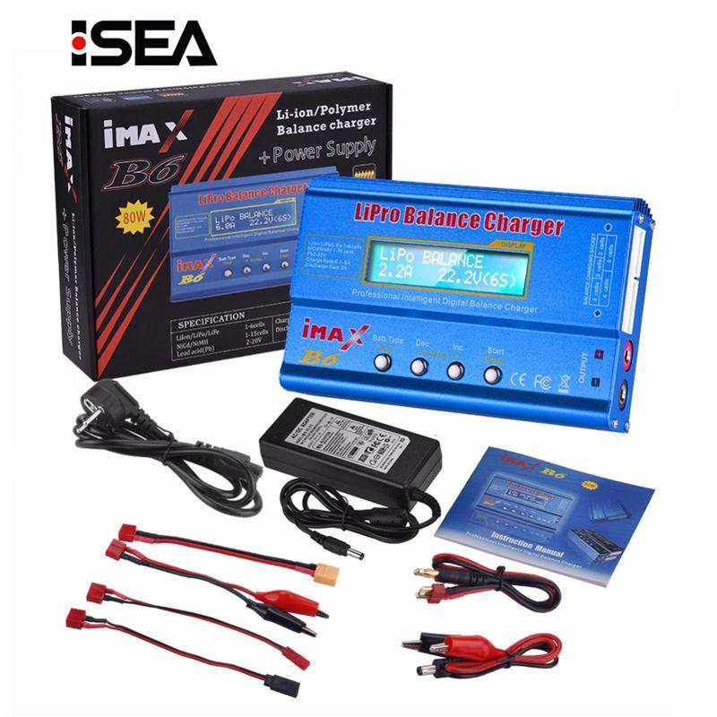 Chargeur de batterie HTRC iMAX B6 80W Lipo NiMh Li-ion ni-cd numérique RC IMAX B6 Lipro chargeur d'équilibre déchargeur + adaptateur 15V 6A