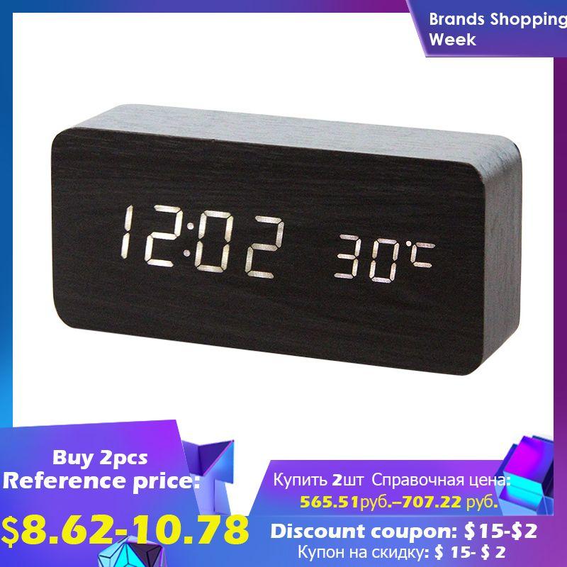 LED en bois réveil montre Table commande vocale numérique bois désespoir électronique bureau USB/AAA alimenté horloges Table décor