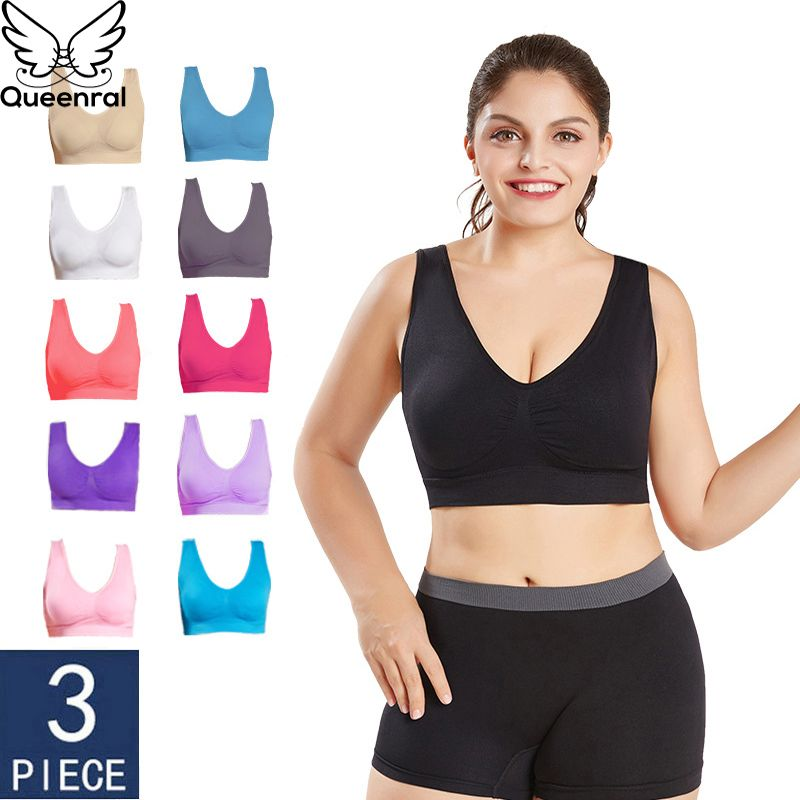 Queenral Dropshipping VIP 3PCS/lot Seamless Bra With Pads Plus Size Bras For Women Brassiere Big Size Vest Wireless BH 5XL 6XL