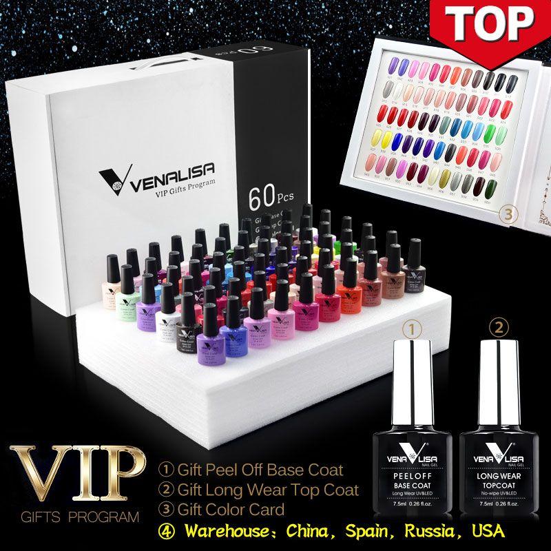 #61508 2019 neue 60 mode farbe Venalisa gel polnischen vernish farbe gel polnisch für nail art design ganze set nagel gel lernenden kit
