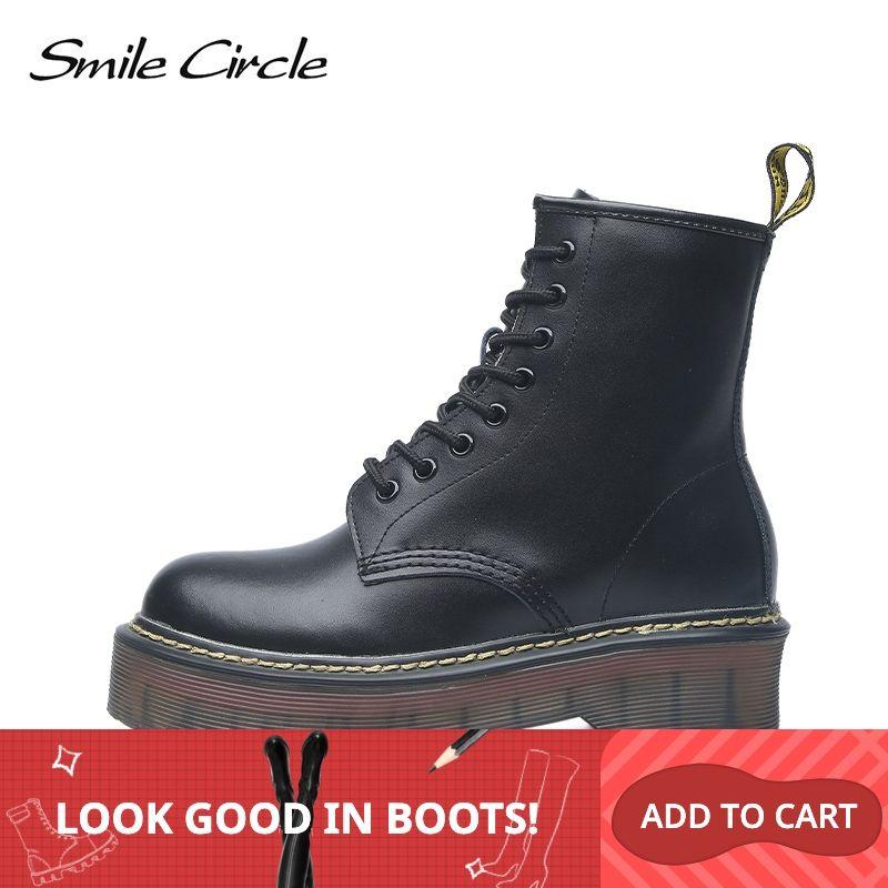 Smile Circle Size 35-42 Flat Platform Boots Women Shoes Autumn Winter Fur Fashion Round Toe Lace-up Leather Boots Ladies Shoes
