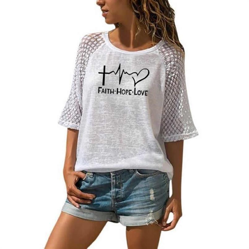 Nouvelle foi espoir amour lettres imprimer T-Shirt pour les femmes dentelle col rond T-Shirt haut T-Shirt haut pour femme Punk coton Camiseta japon