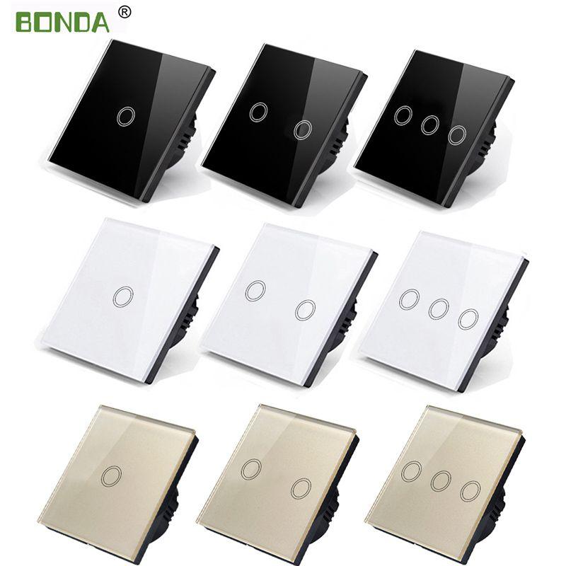Interrupteur tactile BONDA standard EU/UK interrupteur tactile à panneau en verre cristal blanc, AC220V, 1 Gang 1 voie, interrupteur à écran tactile mural léger EU