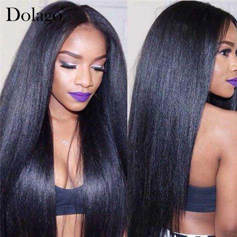 Yaki cheveux humains cheveux brésiliens armure faisceaux 3 4 lumière Yaki Extensions de cheveux raides 1 pièce Dolago Remy produits de cheveux humains
