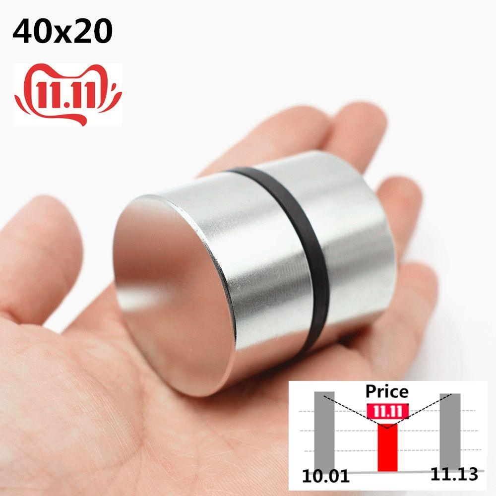 2 pièces aimant néodyme N52 40x20mm Super fort rond terre Rare puissant NdFeB Gallium métal haut-parleur magnétique N35 40*20 Disc