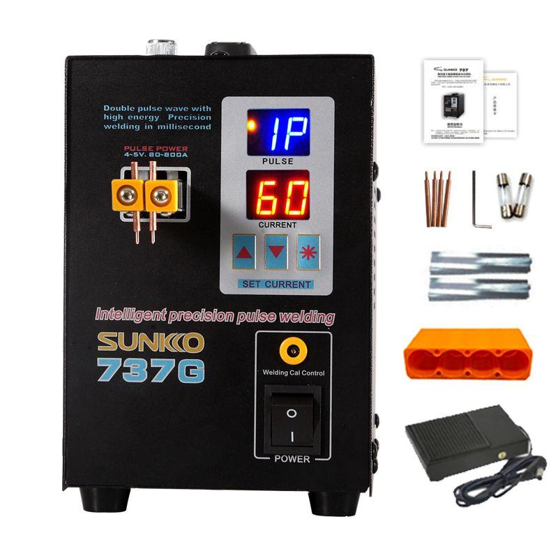 SUNKKO 737G batterie spot schweißer 1.5KW LED pulse 18650 lithium-batterie spot schweißen maschine maximale 0,2mm nickel gürtel pin