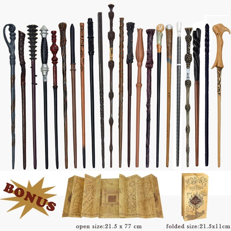 28 Kinds of Metal Core Potters Magic Wands Cosplay Voldemort Hermione Magical Wand Harried Marauder's Map as Bonus without Box