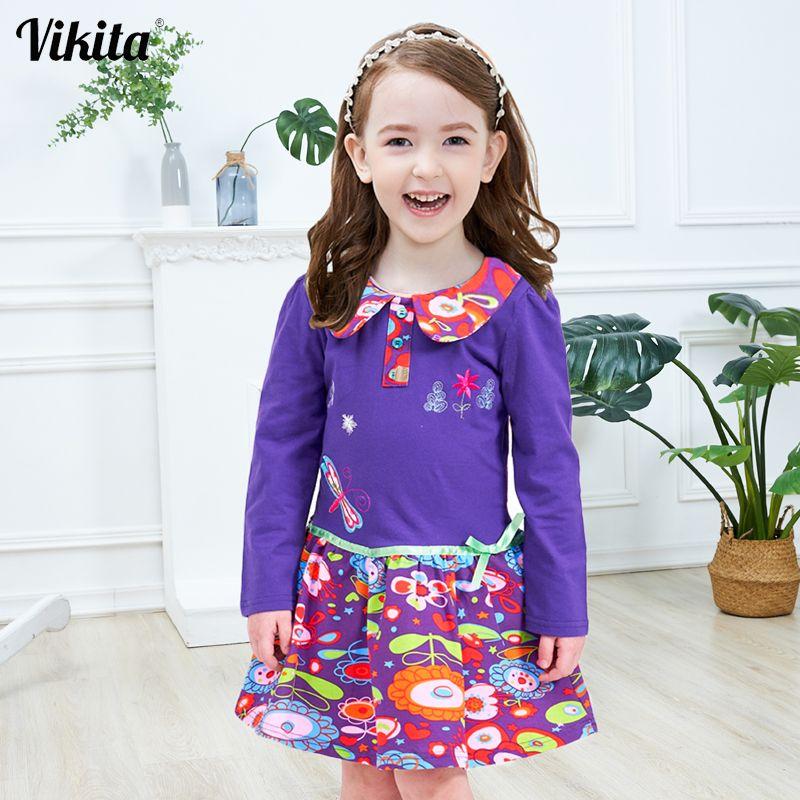 VIKITA marque 2-8Y robe pour bébé filles à manches longues vêtements Tutu fête fleur fille robes enfants enfant robes florales LH5460 Mix