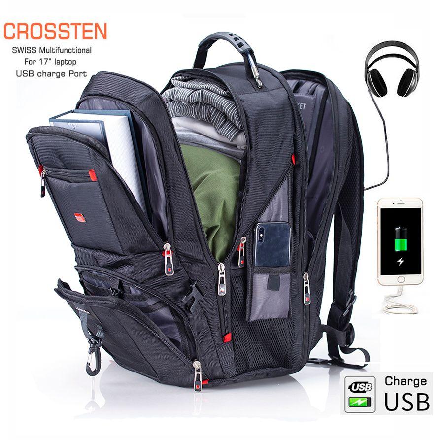 Crossten Swiss multifonctionnel 17.3 sac à dos pour ordinateur portable housse sac étanche USB Port de Charge cartable randonnée sac de voyage
