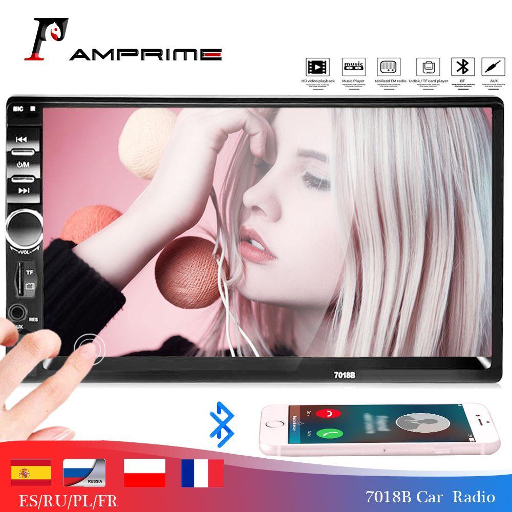 AMPrime 7018B lecteur multimédia voiture universel Autoradio 2din stéréo 7 écran tactile FM vidéo MP5 lecteur Auto Radio caméra de sauvegarde